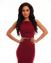 PrettyGirl Famous Glam Burgundy Dress