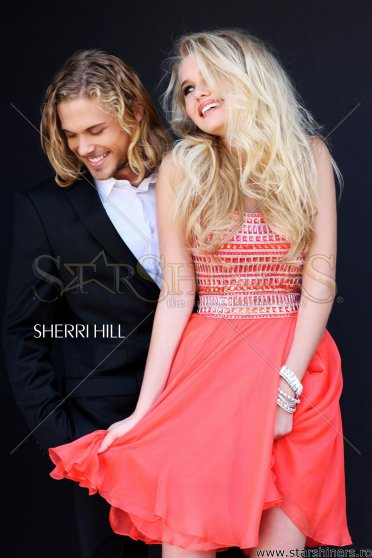 Rochie Sherri Hill Famous Pearls Coral