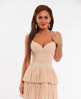 Mexton Rich Pearls Nude Dress