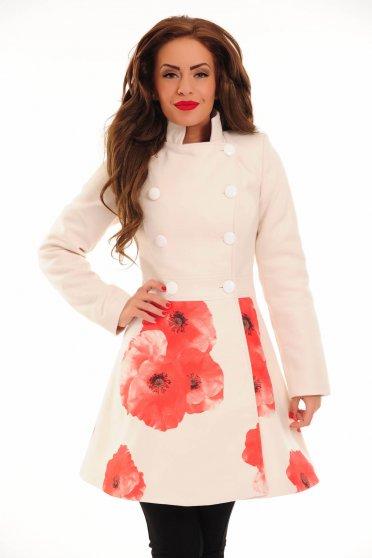 Palton LaDonna Floral Fashion Nude
