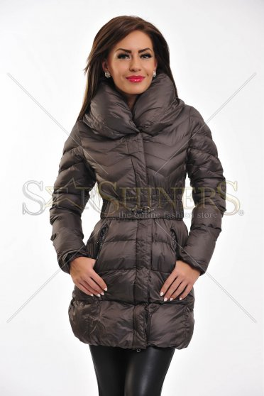 Geaca Fuzzy Neck DarkGrey
