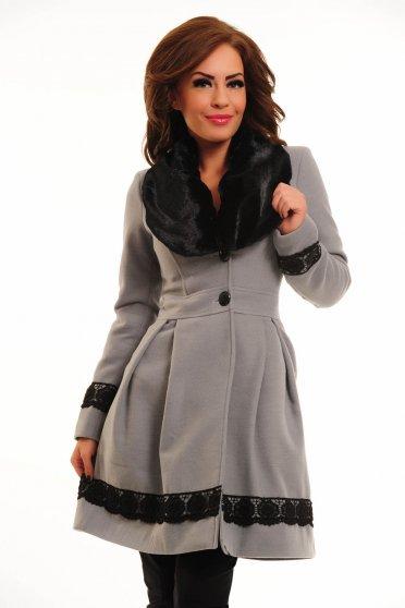 Palton LaDonna Bloomy Colar Grey