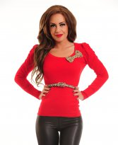Leopard Joy Red Blouse
