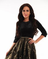 LaDonna Golden Flowers Black Dress
