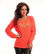 MissQ Adorable Shine Coral Sweater