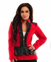 Haine. Palton LaDonna Frilly Zipper Red