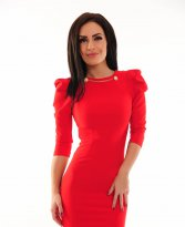 Fofy Embellished Neck Red Dress