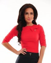 LaDonna Eccentric Stitch Red Shirt