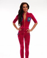 Ocassion Appealing Velvet Coral Jumpsuit
