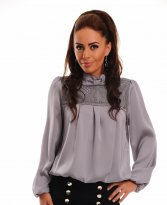 LaDonna Lovely Ribbon Grey Blouse