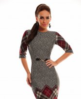 Haine. Rochie LaDonna Checked Dream Burgundy