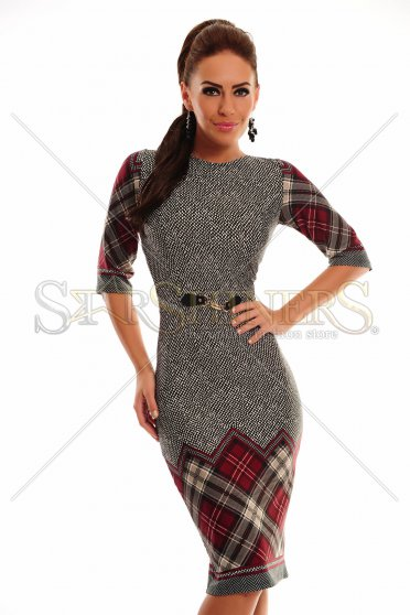 Rochie LaDonna Checked Dream Burgundy