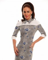 LaDonna Flowered Collar Blue Dress