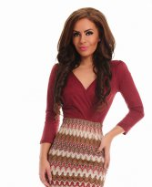 Haine. Rochie City Plaid Burgundy