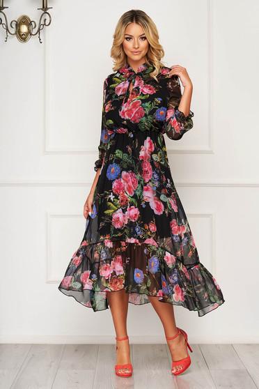 Rochie StarShinerS neagra asimetrica eleganta din voal cu imprimeuri florale si elastic in talie