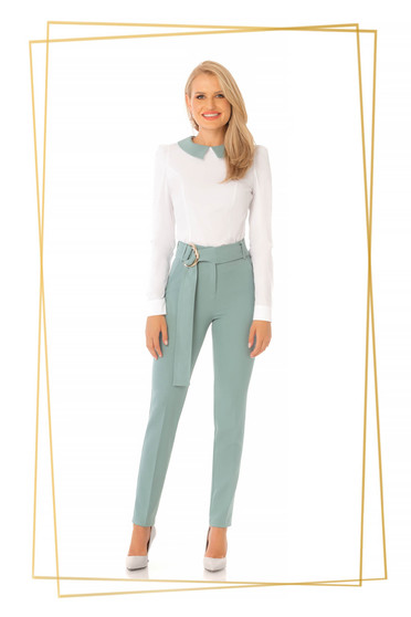 Pantaloni PrettyGirl mint eleganti conici cu talie inalta din stofa usor elastica