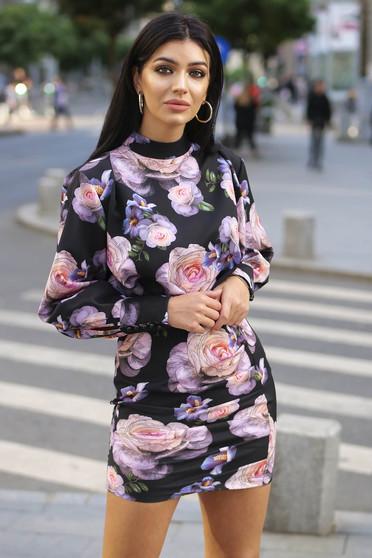 Rochie Artista neagra eleganta cu un croi mulat cu maneci bufante din stofa usor elastica cu imprimeuri florale