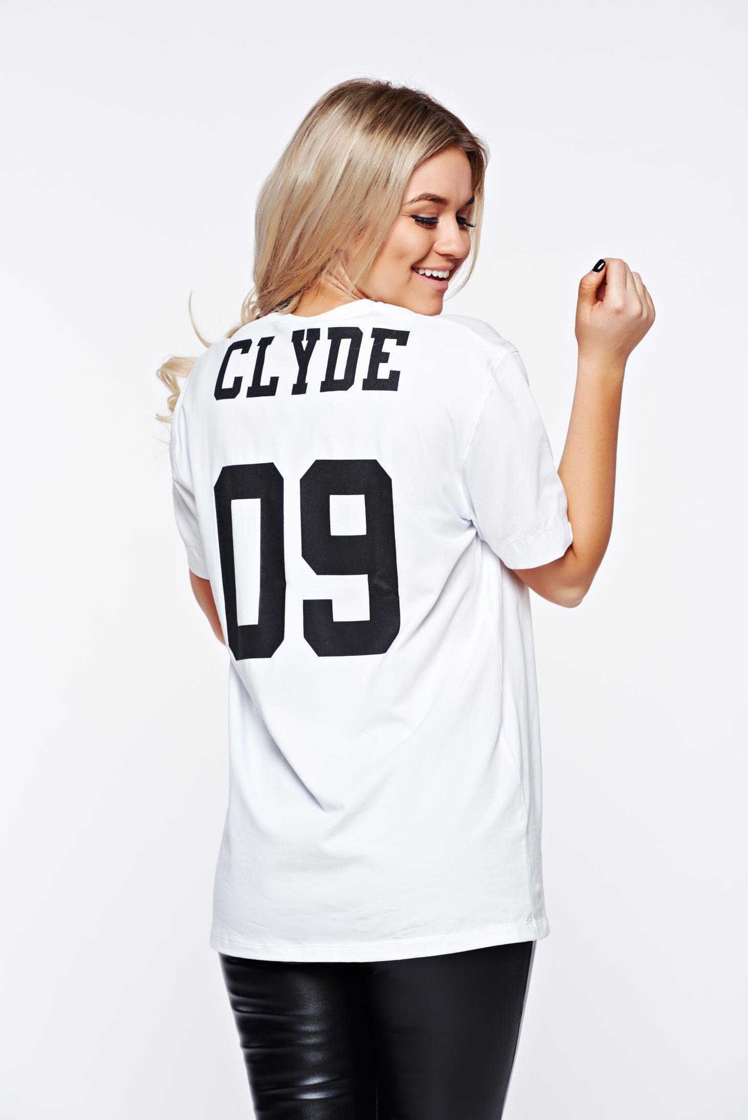 Tricou MissQ alb casual cu croi larg cu imprimeuri cu scris