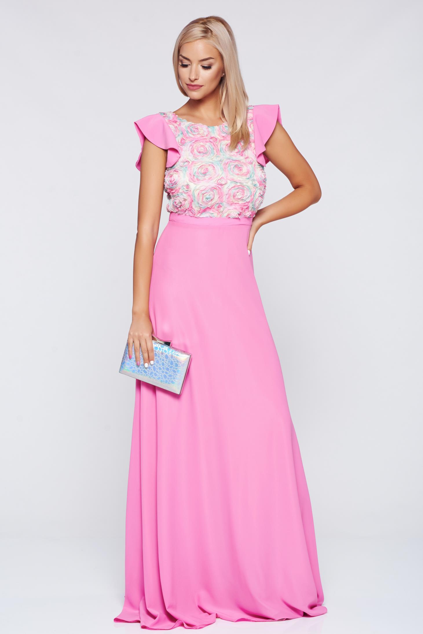 Rochie StarShinerS rosa de ocazie lunga in clos
