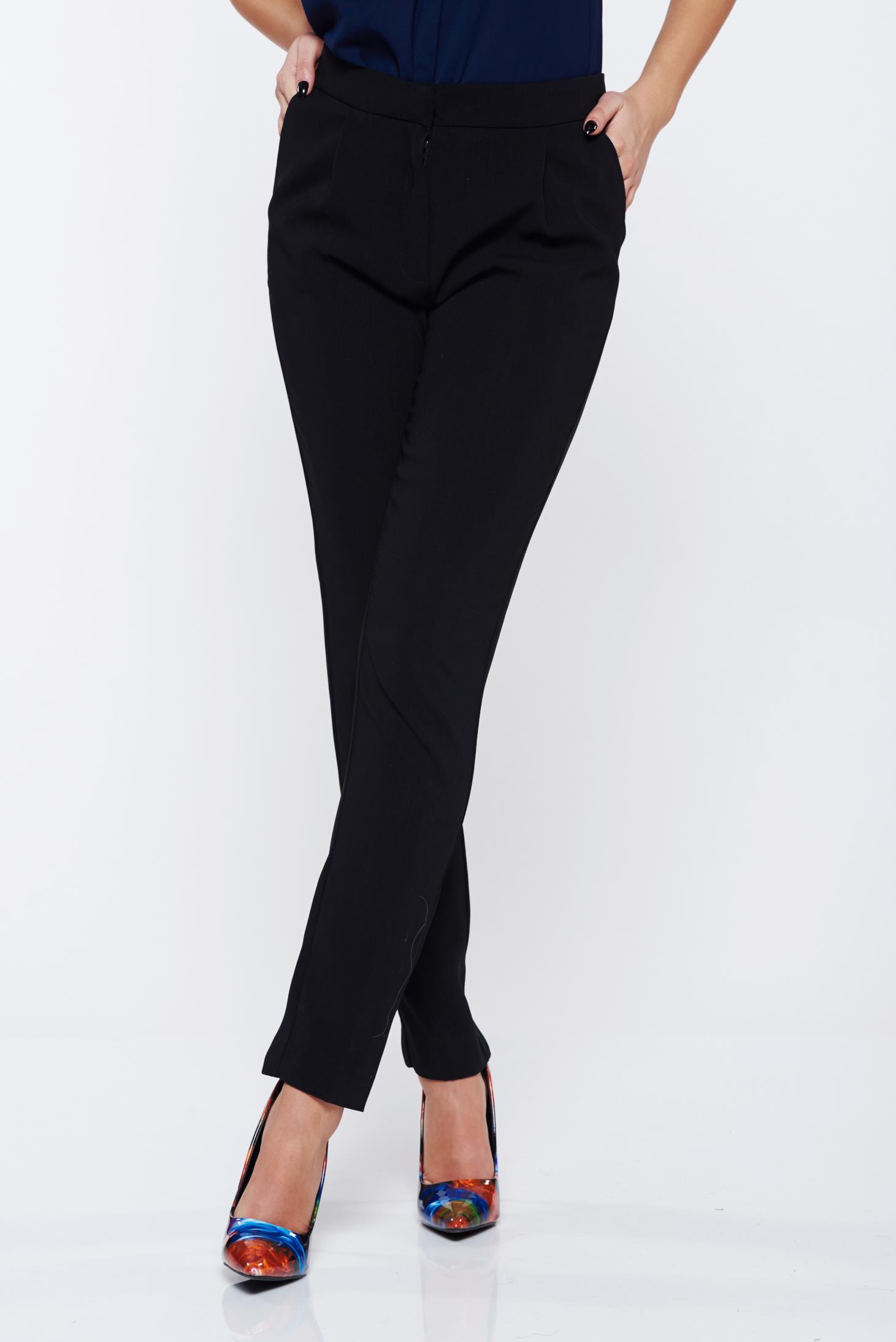 Pantaloni Top Secret negri office conici cu talie medie