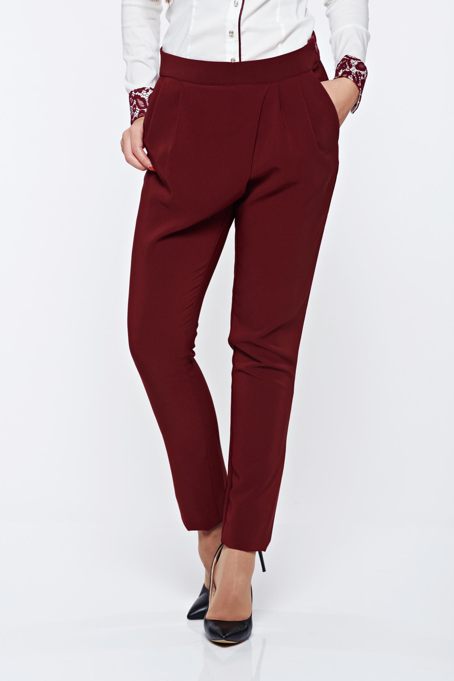 Pantaloni PrettyGirl visinii office conici cu talie medie cu buzunare
