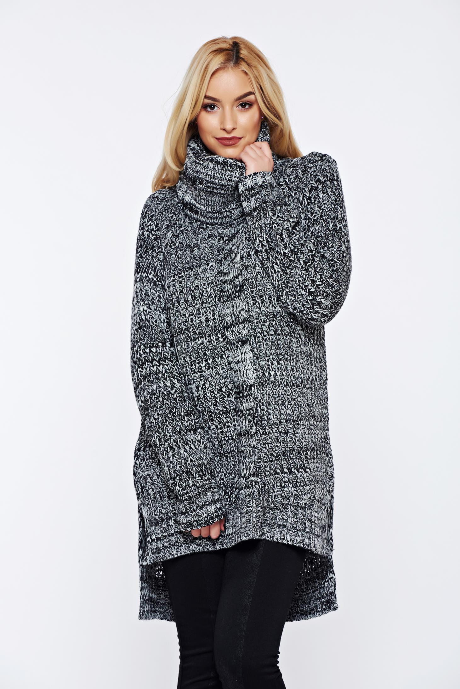 Pulover Top Secret negru casual tricotat asimetric