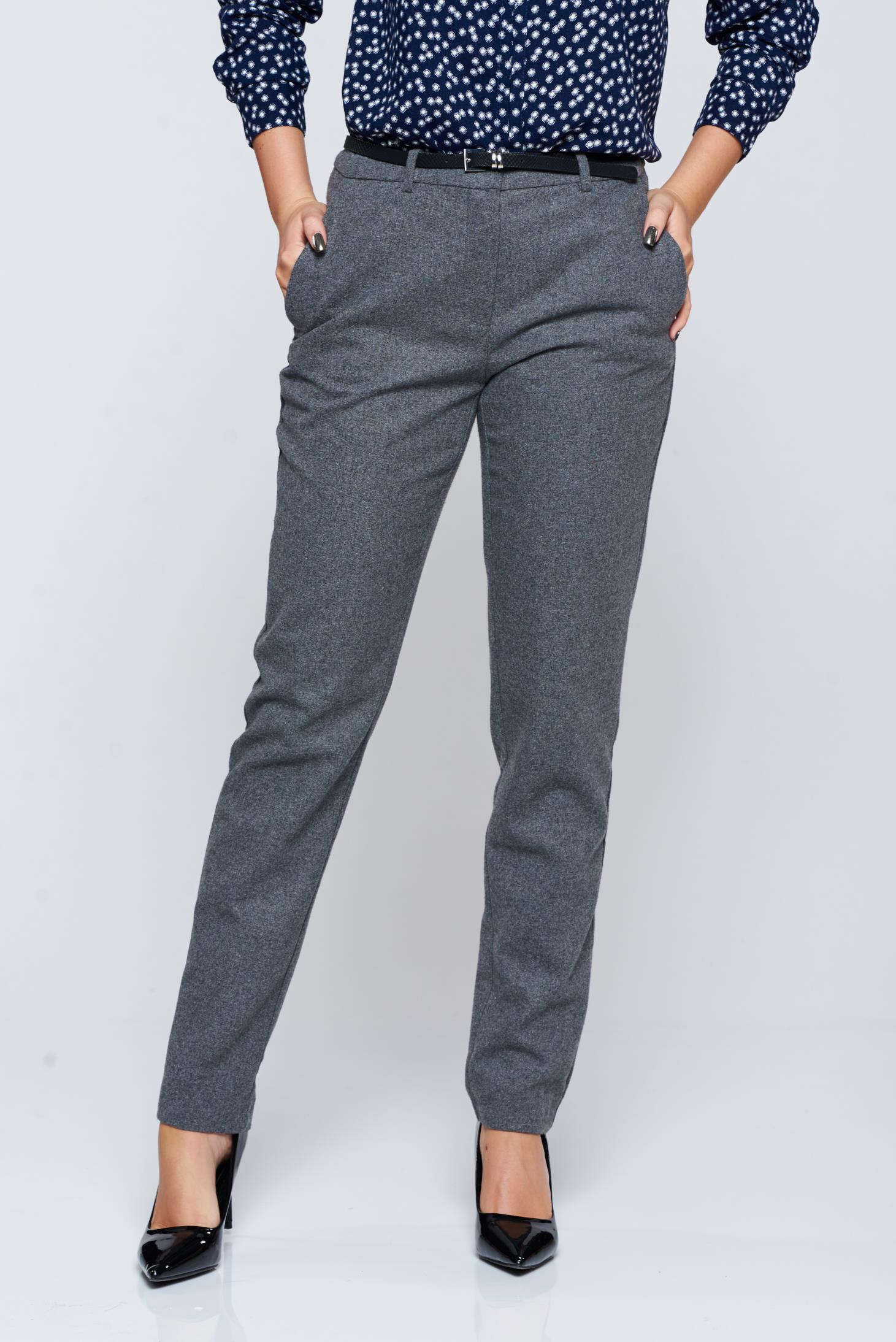 Pantaloni Top Secret gri-deschis office conici cu talie medie
