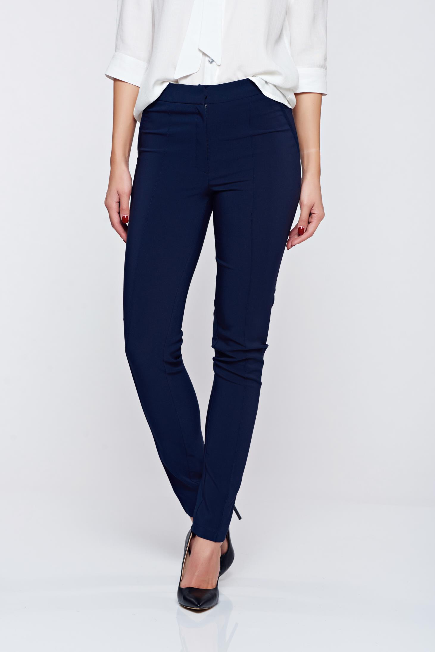 Pantaloni LaDonna albastru-inchis office conici cu buzunare
