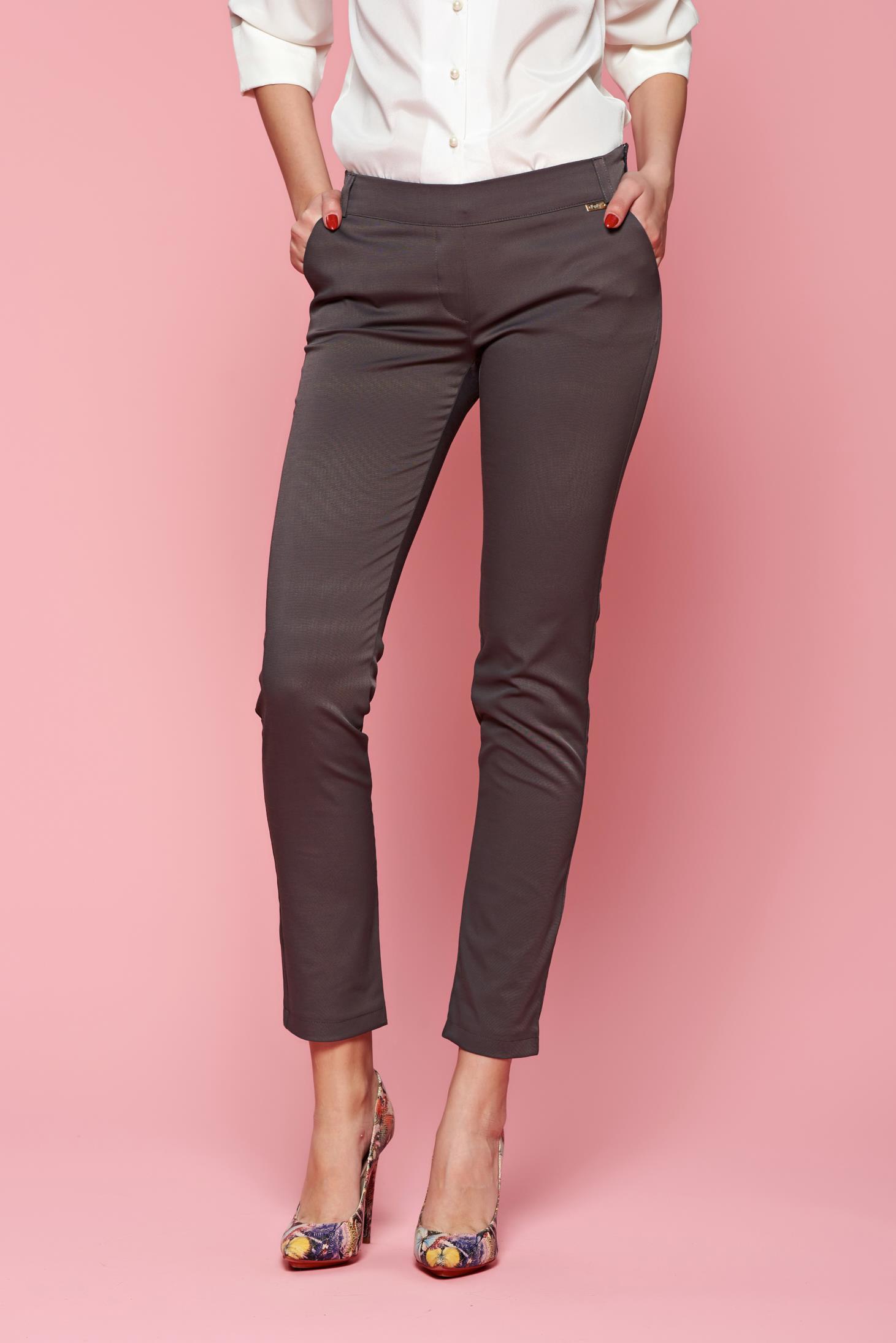 Pantaloni Fofy gri office conici cu talie medie cu buzunare