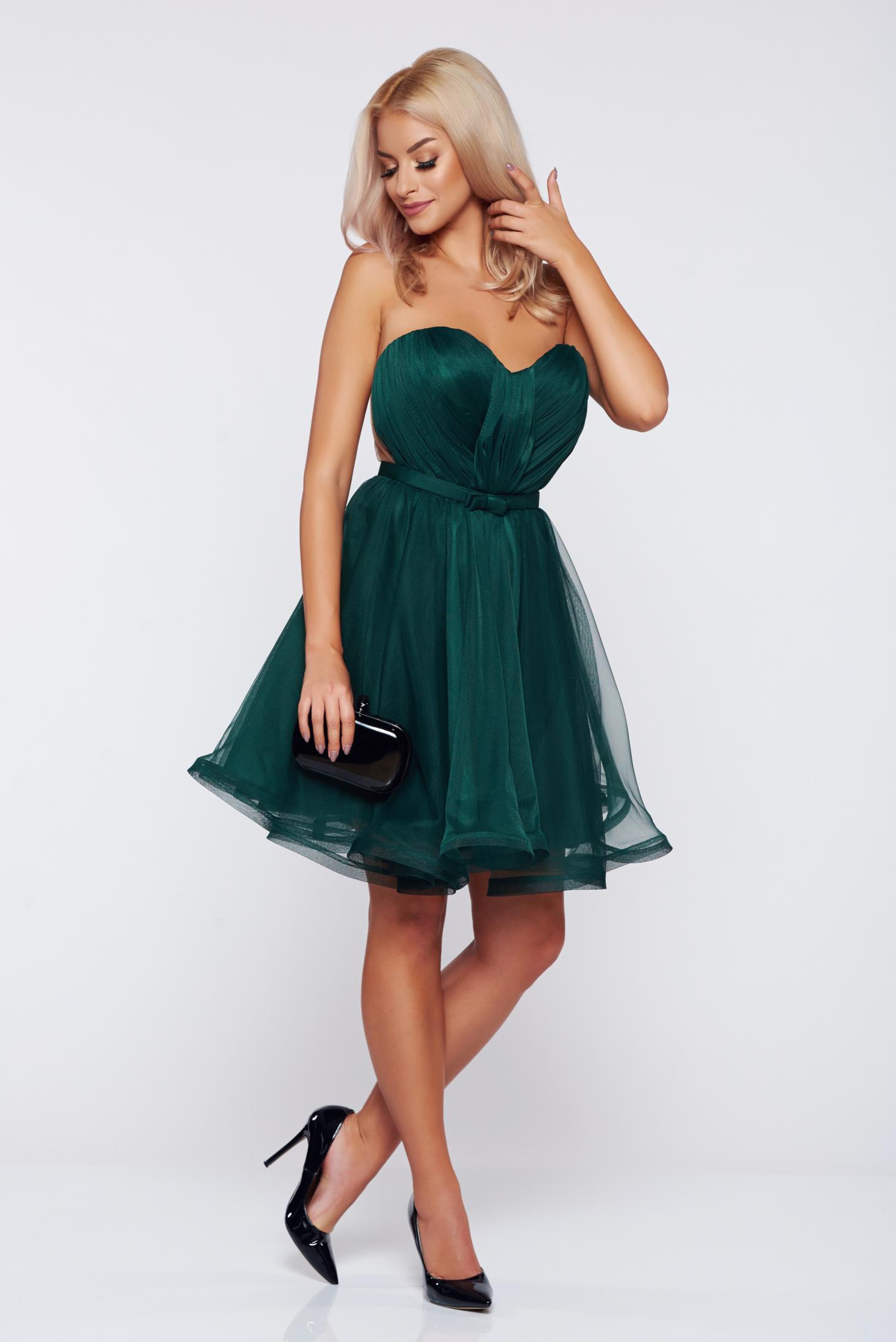 Rochie Ana Radu verde-inchis de lux tip corset din tul cu bust buretat