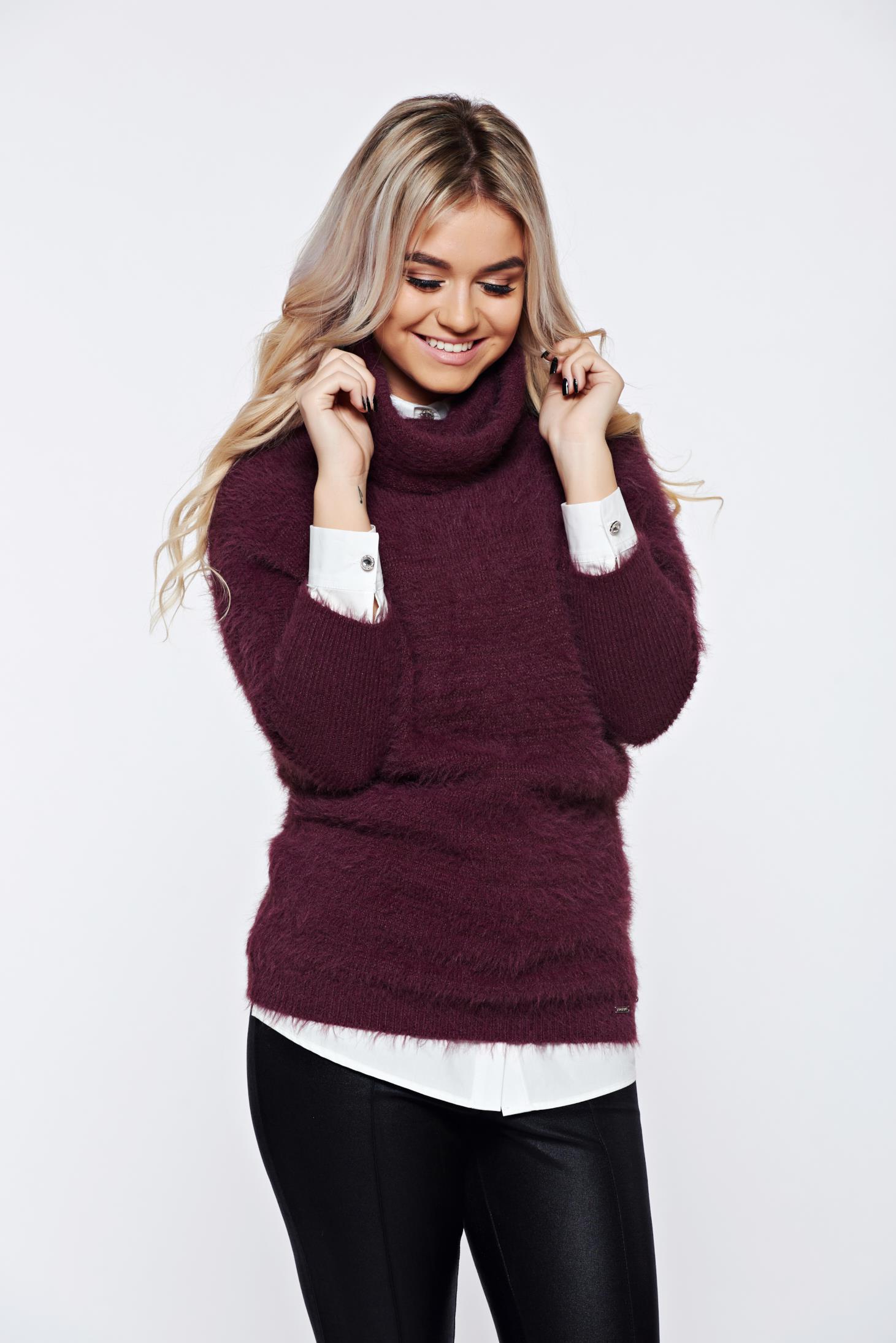 Pulover Top Secret mov casual tricotat din material pufos cu croi larg