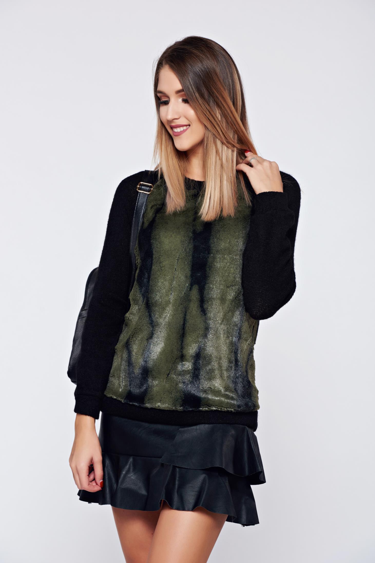 Pulover PrettyGirl verde casual material gros tricotat