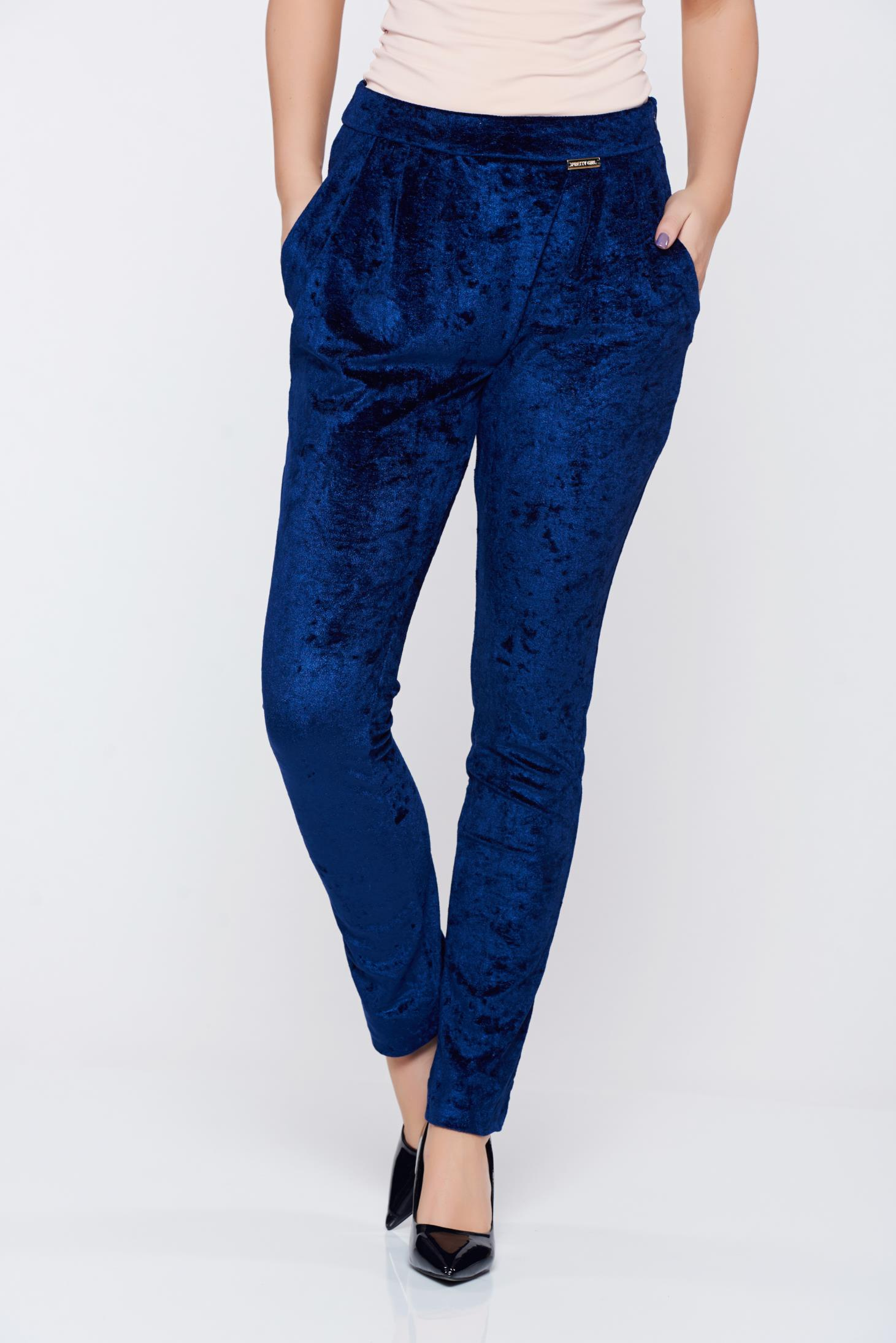 Pantaloni PrettyGirl albastri casual cu buzunare catifea