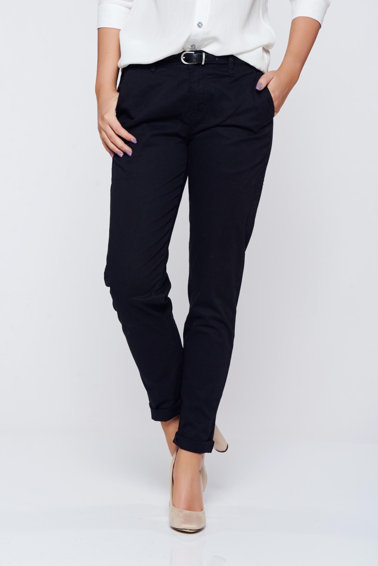Pantaloni Top Secret negri office din bumbac cu talie medie cu buzunare