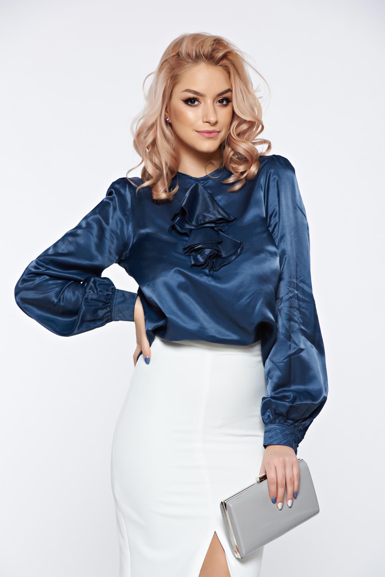 Bluza dama PrettyGirl albastra-inchis eleganta din material lucios cu volanase