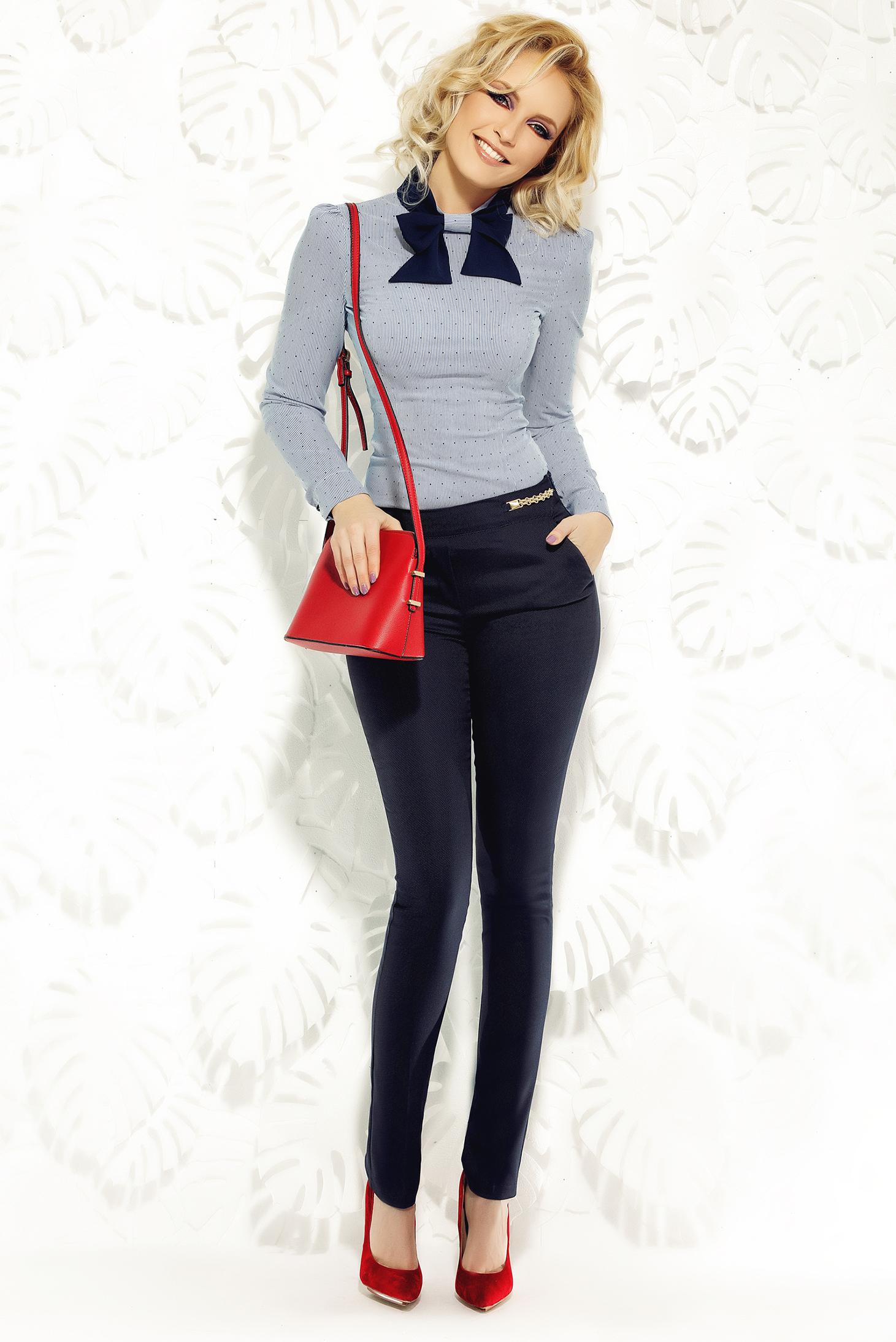 Pantaloni Fofy albastri-inchis office cu talie medie din material elastic si fin