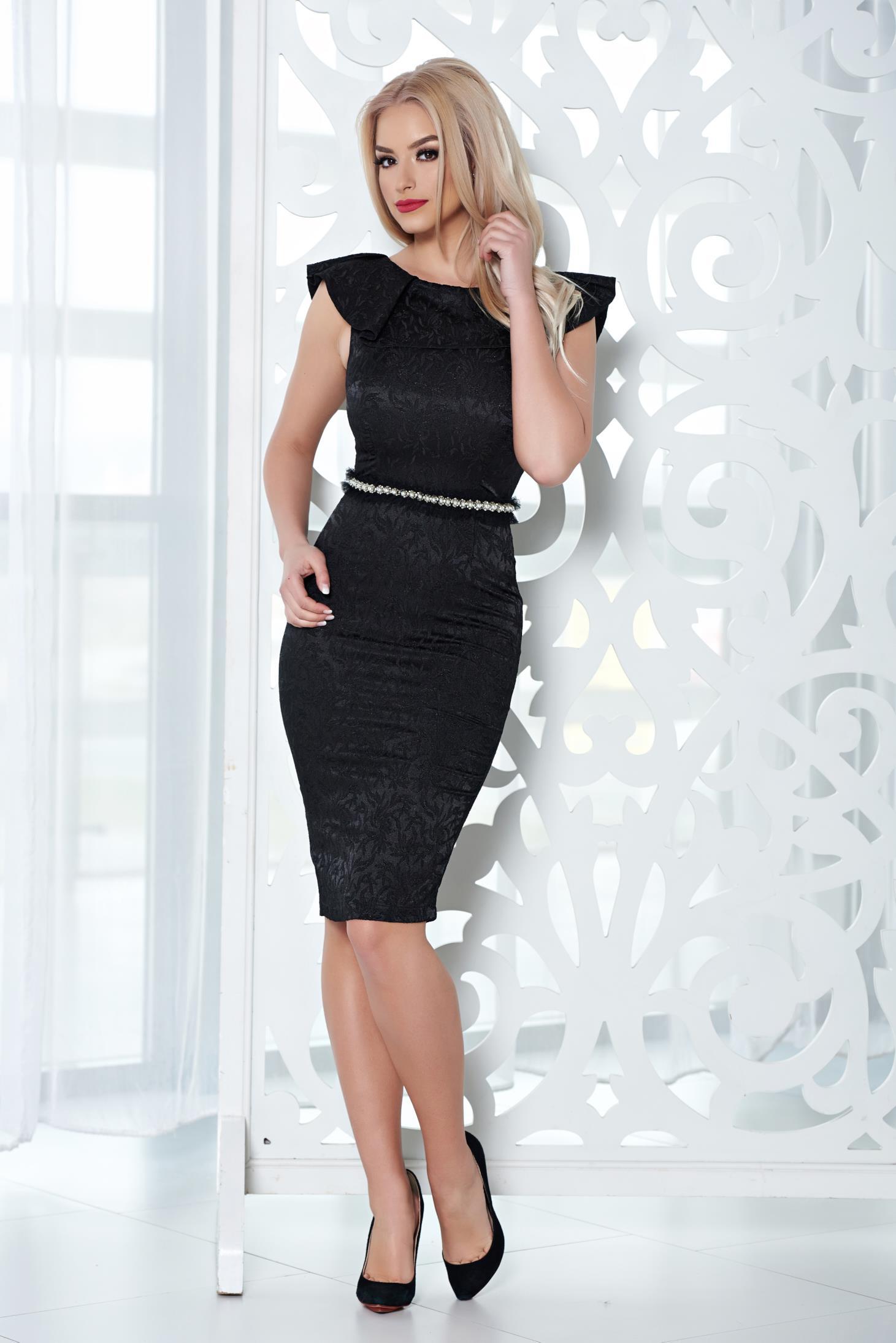 Rochie de ocazie StarShinerS neagra cu aplicatii cu perle