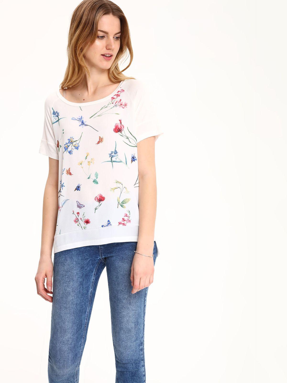 Tricou casual Top Secret alb cu imprimeuri florale