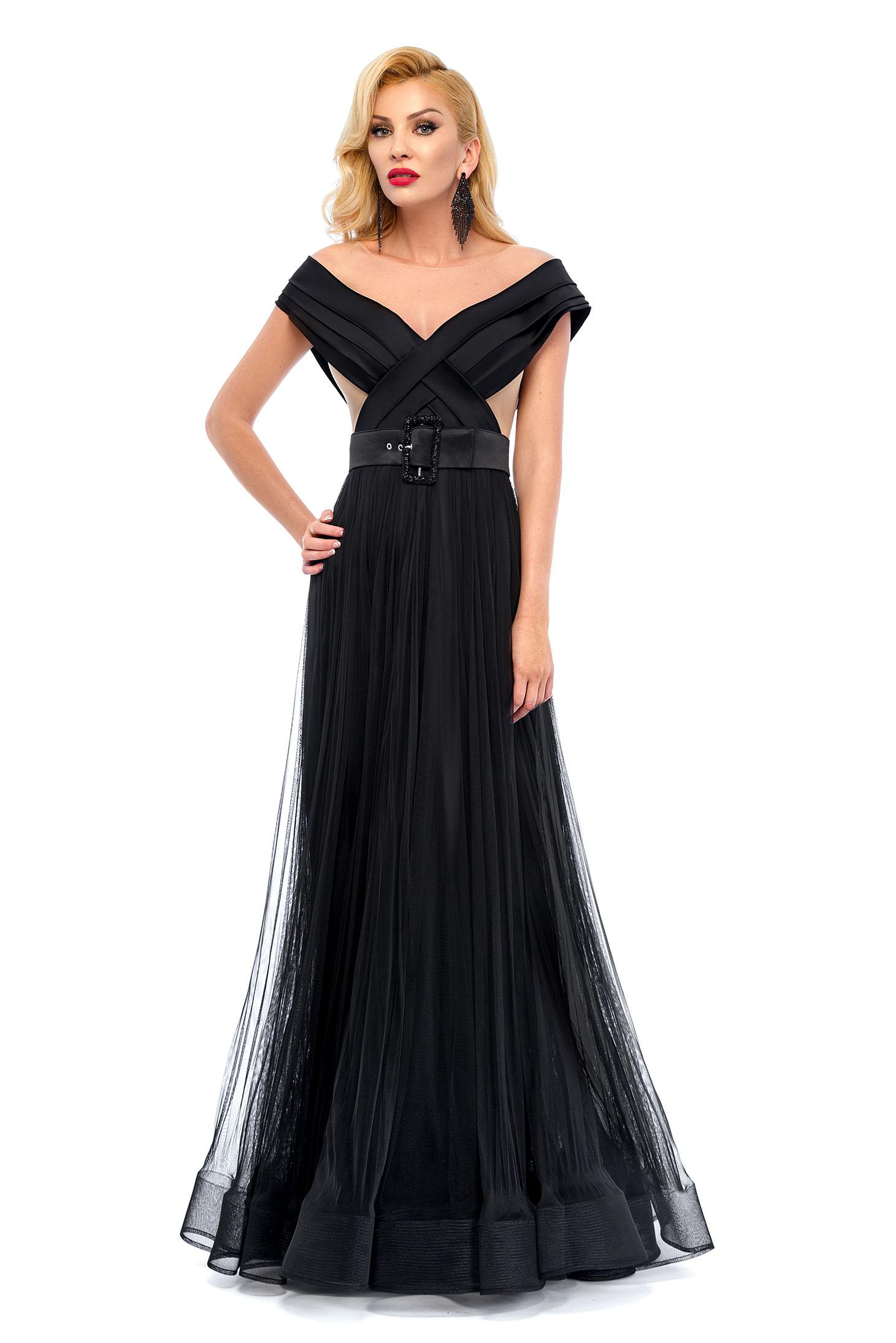 Rochie de ocazie Ana Radu neagra cu accesoriu tip curea