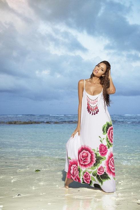 Rochie de plaja cu bretele Cosita Linda alba cu croi larg din material vaporos
