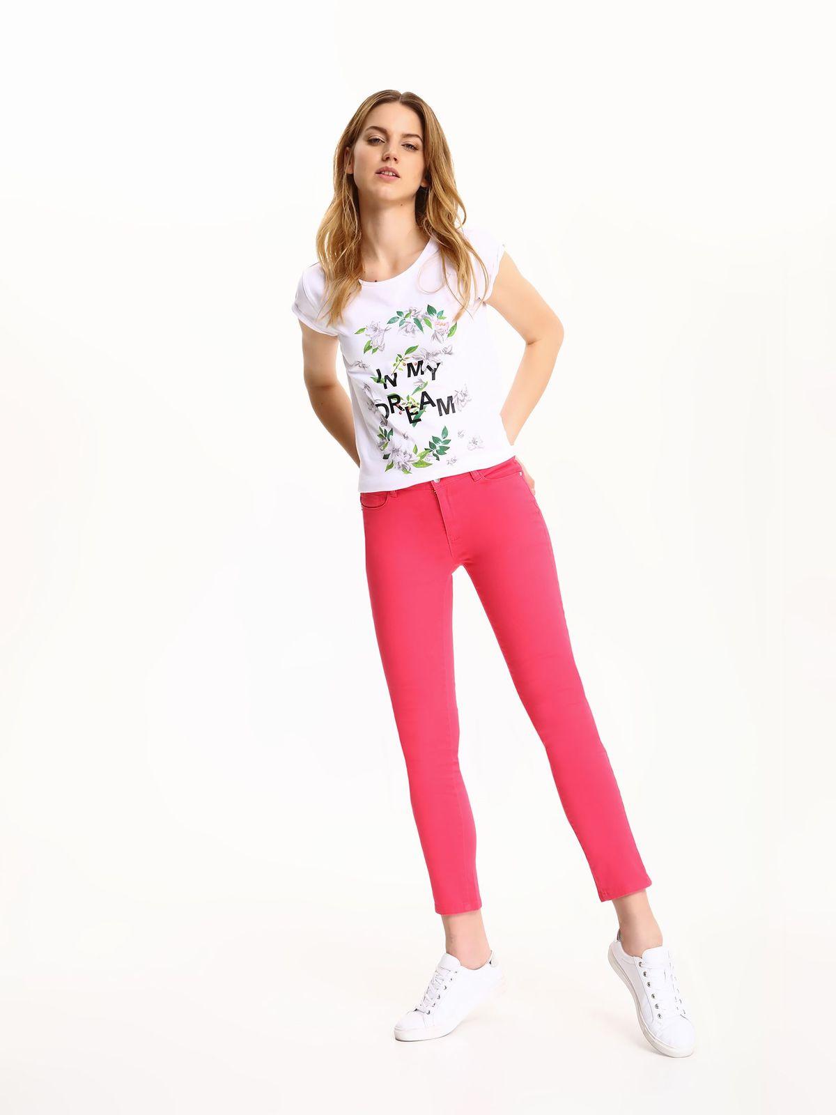 Pantaloni conici cu buzunare Top Secret roz cu talie joasa