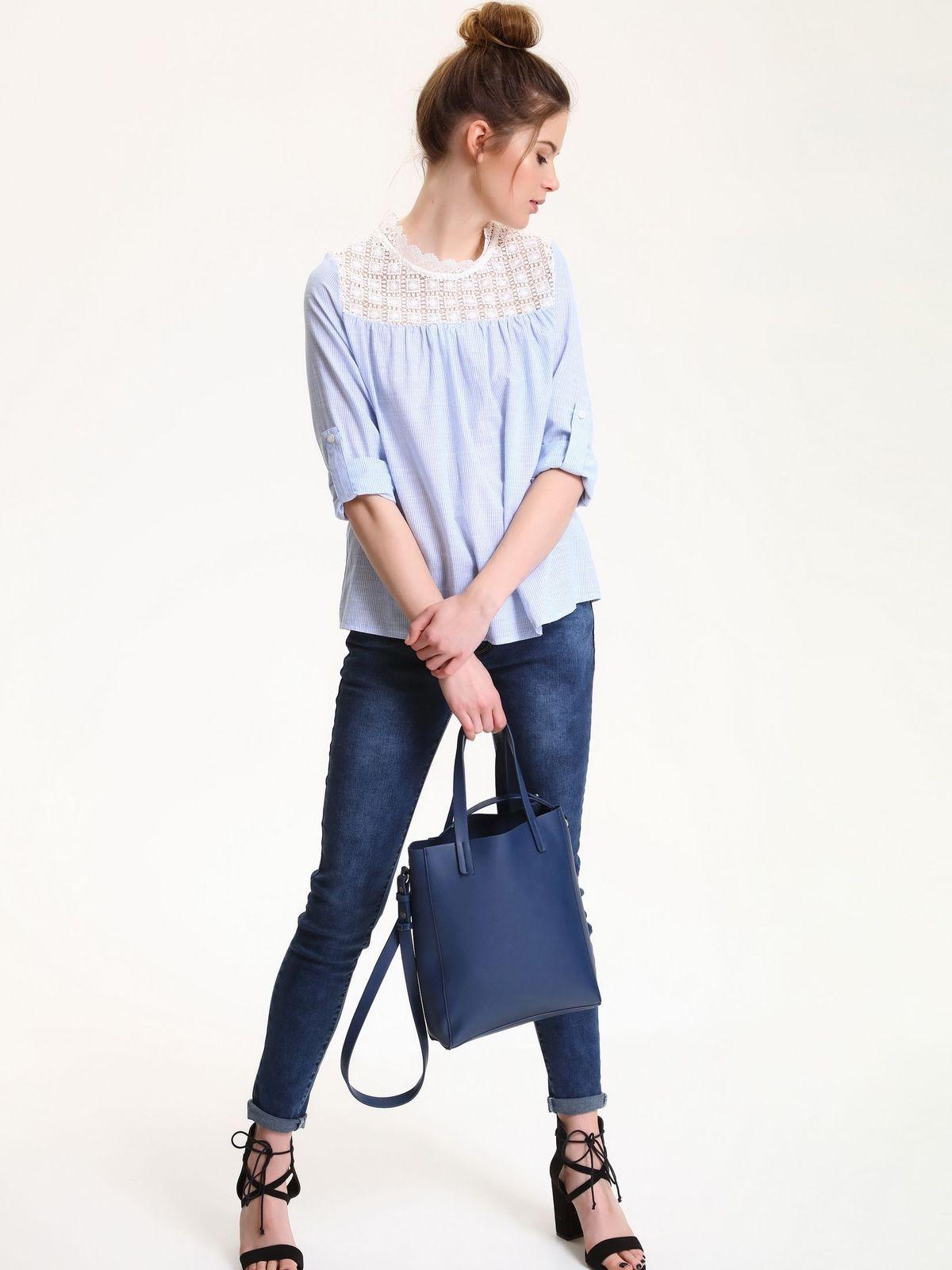 Bluza dama casual cu maneca lunga Top Secret albastra cu aplicatii de dantela