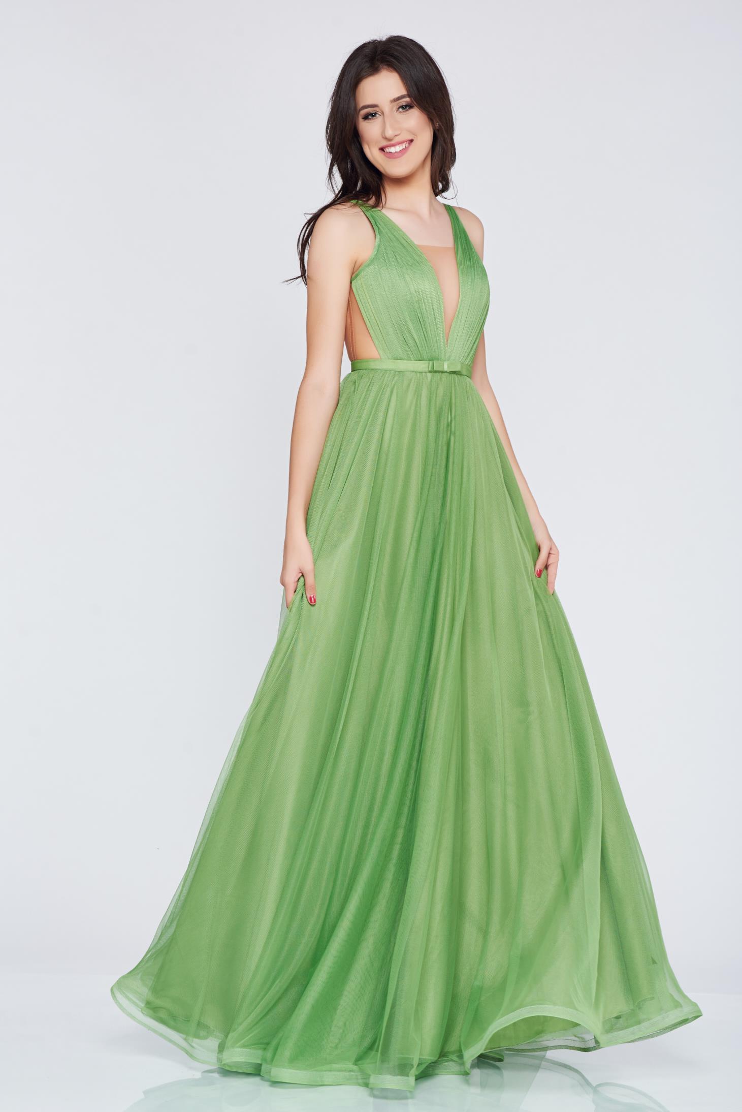 Rochie Ana Radu verde-inchis de lux cu decolteu in v cu tul