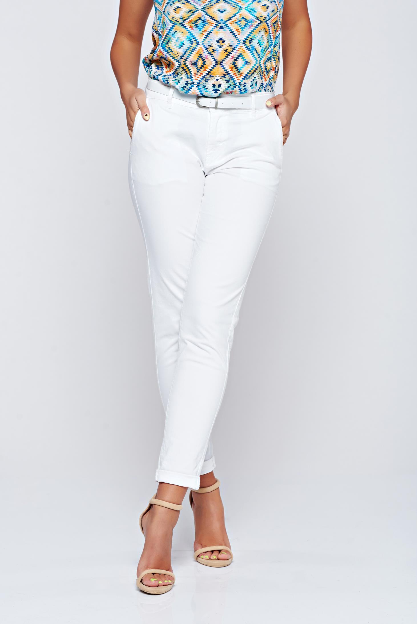 Pantaloni Top Secret albi conici cu buzunare