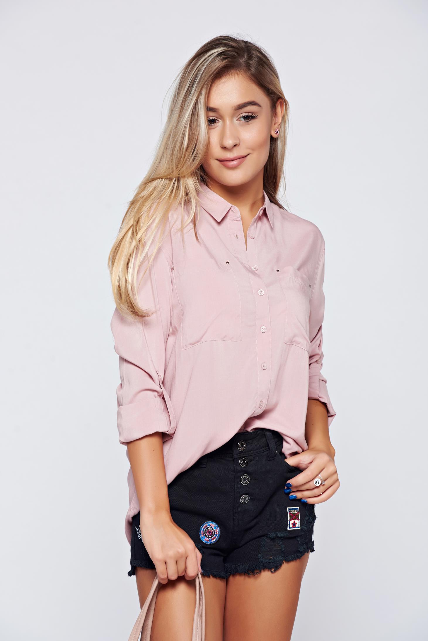 Camasa dama Top Secret roz cu croi larg cu maneca lunga