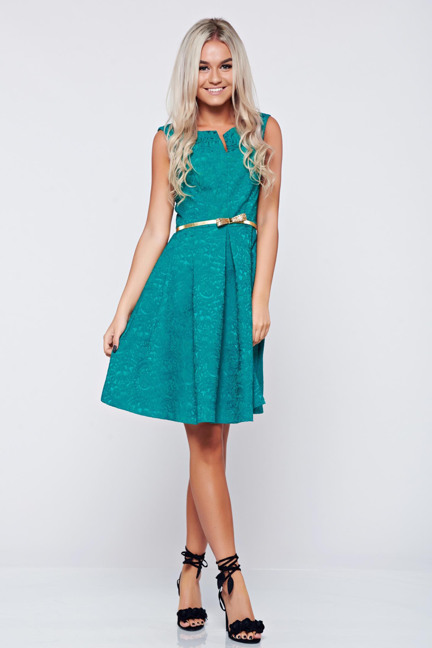 Rochie eleganta din jaquard Fofy verde decupat la bust