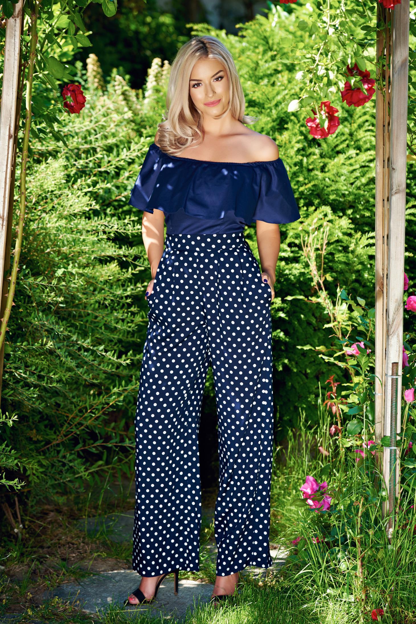 Pantaloni StarShinerS albastru-inchis cu talie inalta cu buzunare