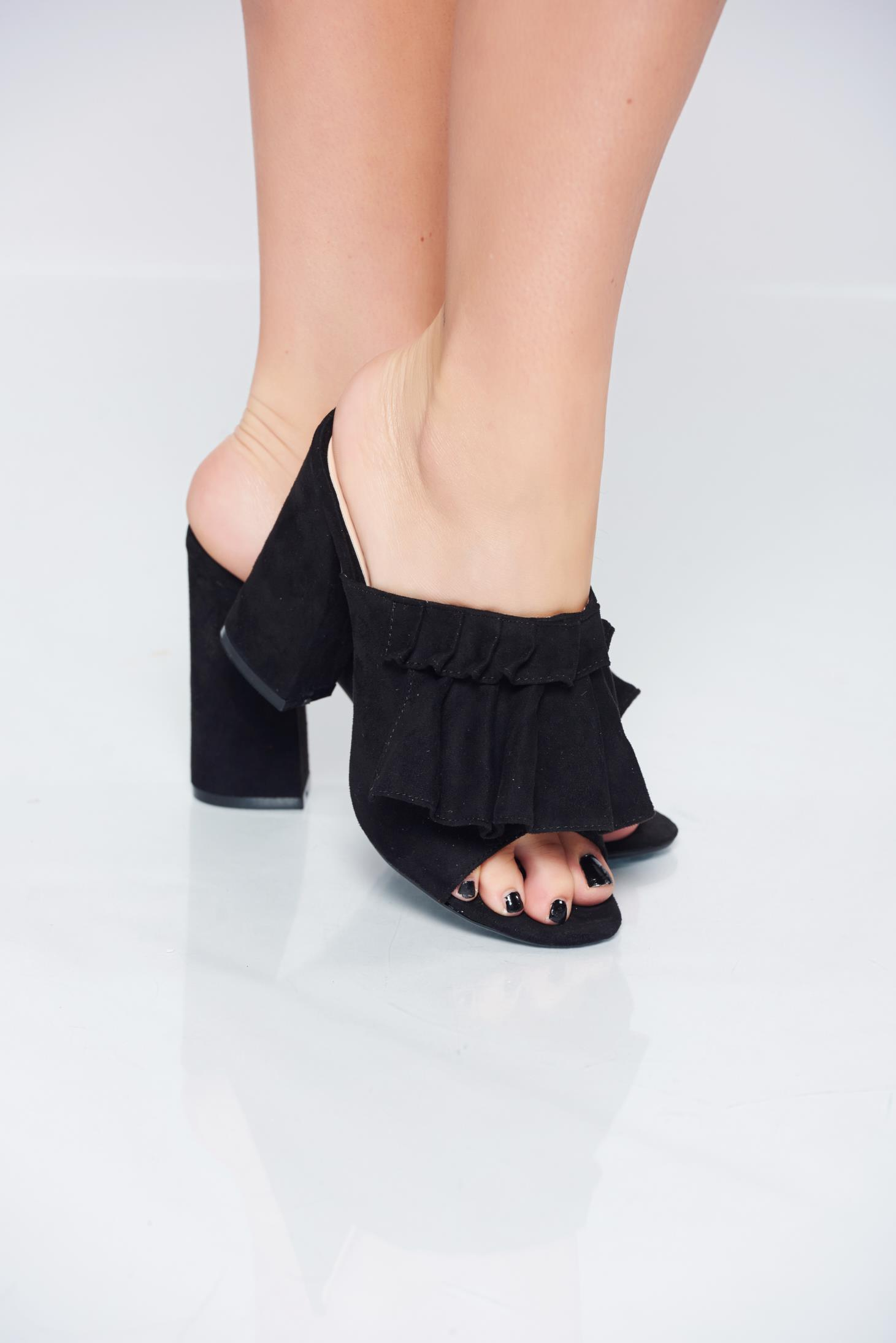 Sandale cu toc inalt negre cu toc patrat