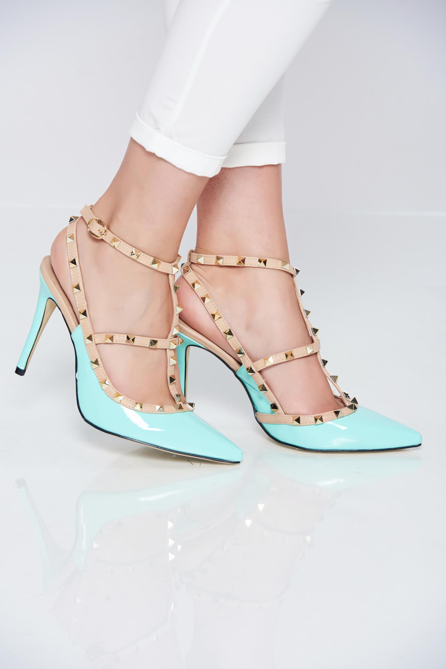 Pantofi stiletto mint cu toc inalt cu tinte metalice