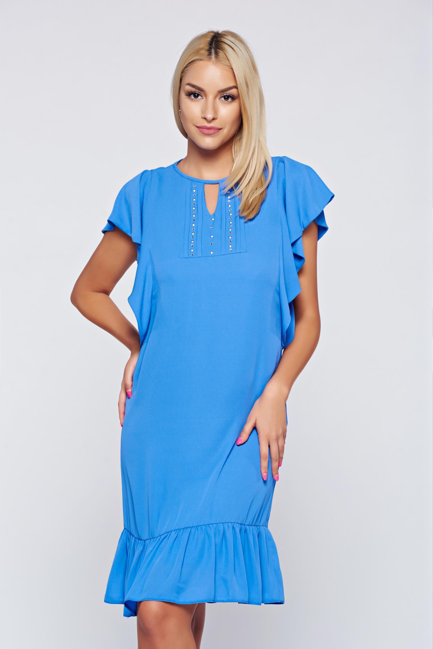 Rochie LaDonna albastra-deschis din voal cu croi larg cu aplicatii cu margele